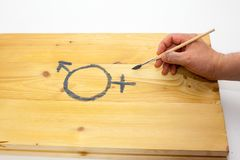 A man draws with a brush a symbol of gender equality on a wooden background. 50/50 royalty free stock photo