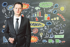 Man draws business strategy plan concept on blackboard Stock Image
