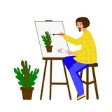 A man draws on canvas. The artist is working on a painting. The guy portrays a pot of flowers. vector illustration
