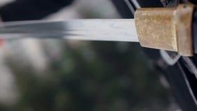 Man draws his sword . Close up. stock footage