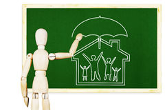Man draws symbol of traditional family and moral values Royalty Free Stock Photo