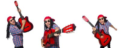 The man with dreadlocks holding guitar isolated on white royalty free stock images