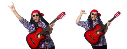 The man with dreadlocks holding guitar isolated on white royalty free stock photos