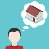 Man dream about house. Vector illustration. Man dream about house. Concept of desire to obtain it's own home. Vector illustration Royalty Free Stock Photo