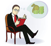Man dream about money. Concept cartoon. Man reading book and think about money. Cartoon illustration. Vector illustration Royalty Free Stock Photos