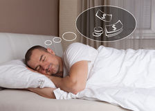 Free Man Dreaming About Money Stock Image - 66737081