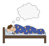 Man dreaming in bed Stock Images