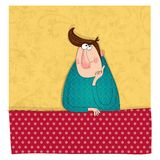 Man dreaming. Colorful graphic illustration for children Royalty Free Stock Images