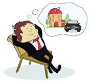 Man dreaming house and car. Concept for credit or mortgage. Vector illustration royalty free illustration