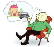 Man dreaming house and car. Concept for credit or. Mortgage. Vector illustration Royalty Free Stock Image