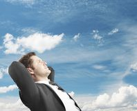 Man dreaming on travel. Man sitting and dreaming on travel royalty free stock image