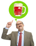 The man dreams of a glass with beer Royalty Free Stock Photography