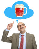 The man dreams of a glass with beer Royalty Free Stock Images