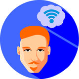 Man dreams of Internet connection. Flat Style. Fashionable red-h. Aired man with a beard and mustache, hipster on a blue background Royalty Free Stock Photo