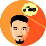 Man dreams of a motorbike. Flat Style. Fashionable man with bear. D and mustache, hipster on an orange background Stock Images