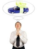 Man dreams about new car. Isolated over white background stock images