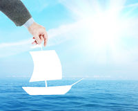 Man dreams to sail on a yacht in the ocean Royalty Free Stock Image