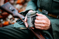 Man Dressed As German Wehrmacht Infantry Soldier In World War II Royalty Free Stock Photo