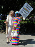 Man dressed as Jesus in Pride Parade Stock Photos