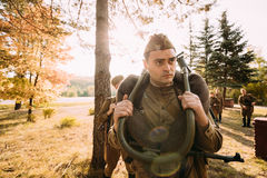 Man Dressed As Russian Soviet Red Army Infantry Soldier Of World War II Stock Photo