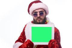 Man dressed as Santa Claus stock photo