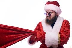 Man dressed as Santa Claus stock photo