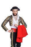 Man dressed as Spanish bull fighter. Isolated on a white background Royalty Free Stock Photos