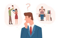 Man dressed in business suit choosing between family responsibilities and career. Difficult choice, life dilemma. Working parent decision making. Colorful royalty free illustration