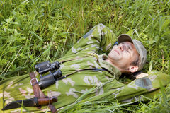 A man dressed in camouflage Stock Image