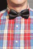 Man Dressed Checkered Shirt With Black Bow Tie Royalty Free Stock Photo