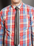 Man Dressed Checkered Shirt With Black Tie Royalty Free Stock Photo