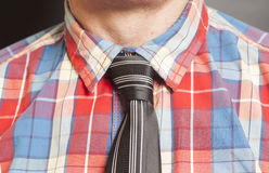 Man Dressed Checkered Shirt With Black Tie On Gray Royalty Free Stock Photography