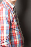 Man Dressed Checkered Shirt With Black Tie On Gray Royalty Free Stock Photo