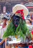 Man Dressed with Grass in GaijatraThe Festival of Cows Royalty Free Stock Photo