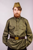 Man dressed in historical soviet  uniform Stock Photo