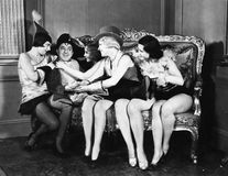 Man Dressed Napoleon Surrounded By Young Women Stock Image