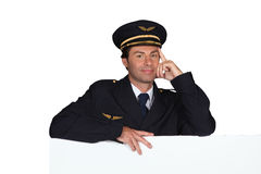 Man dressed in pilot costume Royalty Free Stock Image