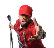 Man Dressed in Red Singing Stock Photos