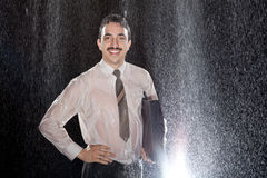Successful Businessman in the rain Royalty Free Stock Photography