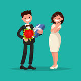 Man dressed in a suit gives a woman a bouquet of flowers. Man dressed in a suit gives a woman a bouquet of flowers and a gift. Vector illustration of a flat Stock Image