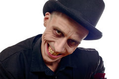 Man dressed up as Dracula for the halloween Stock Images