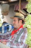 Man dressed up as farmer. Gambellara, northern Italy, Italy - september, 27, 2015 - close up of participant dressed up as farmer at the Gambellara Wine Festival Stock Image