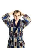 Man dressing bathrobe Royalty Free Stock Images