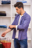 Man in dressing room Royalty Free Stock Photography
