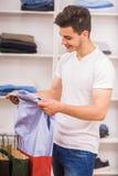 Man in dressing room Stock Photos
