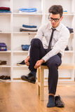 Man in dressing room Royalty Free Stock Photo