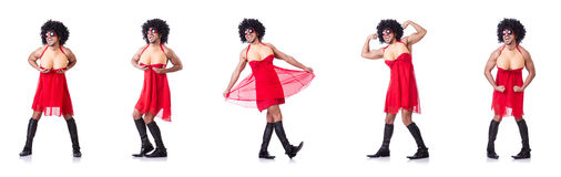 The man dressing in woman dress Stock Images