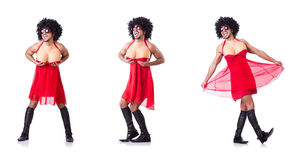The man dressing in woman dress Stock Photography