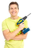 Man with drill Stock Image