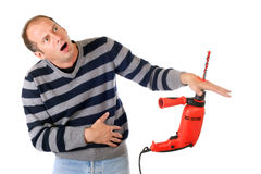 Man drill accident Stock Photo